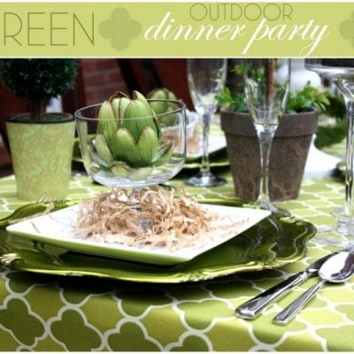green quatrefoil outdoor dinner party