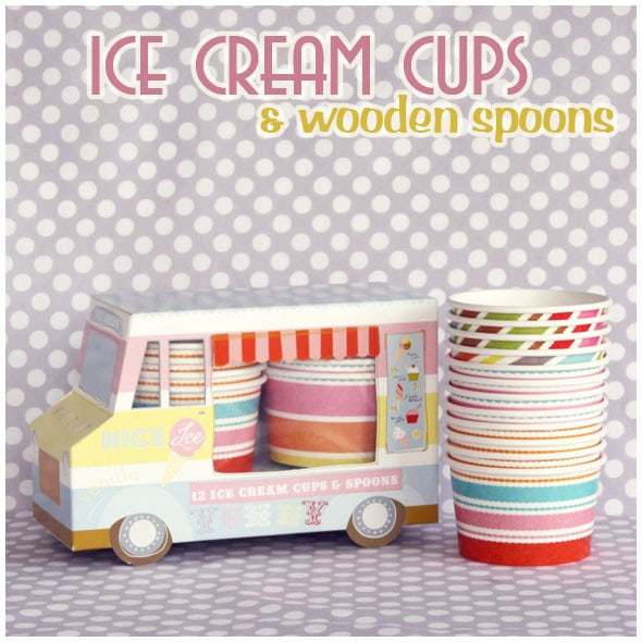 mini ice cream cups and wooden spoons