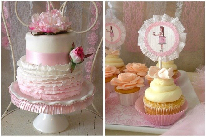 pink icing designs cupcake topper and ruffled cake