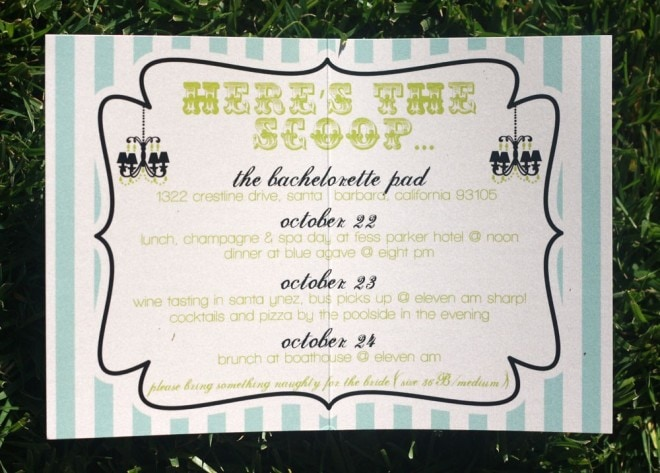 bachelorette party invites
