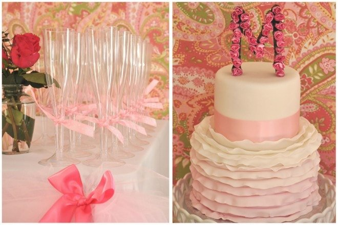 ruffled pink birthday cake