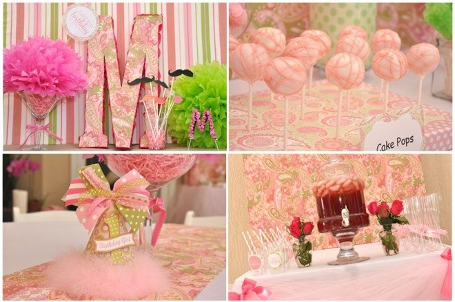 pink and green preppy paisley birthday party