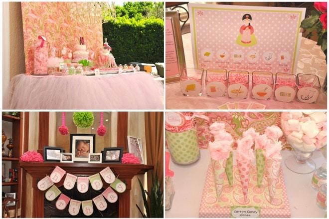 pink green 1st birthday dol celebration
