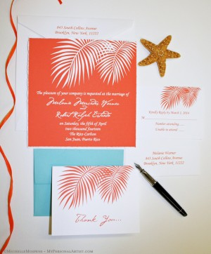 orange palm fronds wedding invite