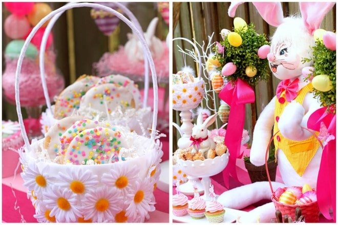 pink and yellow easter party tablescape