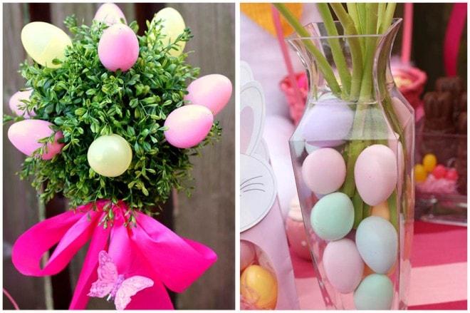 Huevos teñidos en jarrón