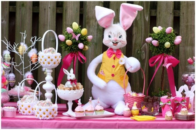 pink yellow eater bunny table