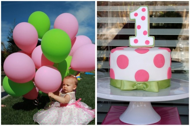 polka dot first birthday cake