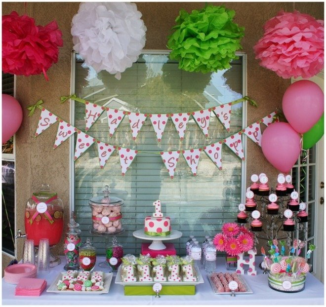 polka dot birthday party table green pink