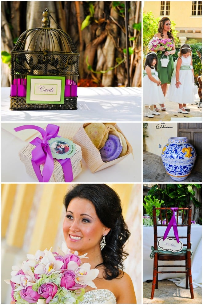 bird cage wedding purple and white