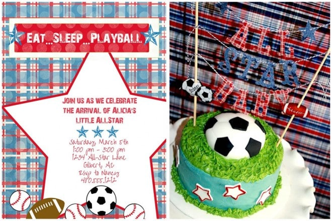 sports themed baby shower ideas soccer cake