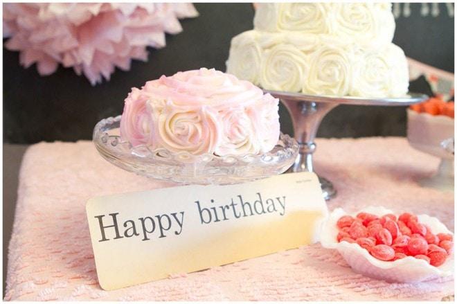 happy birthday rosette cake