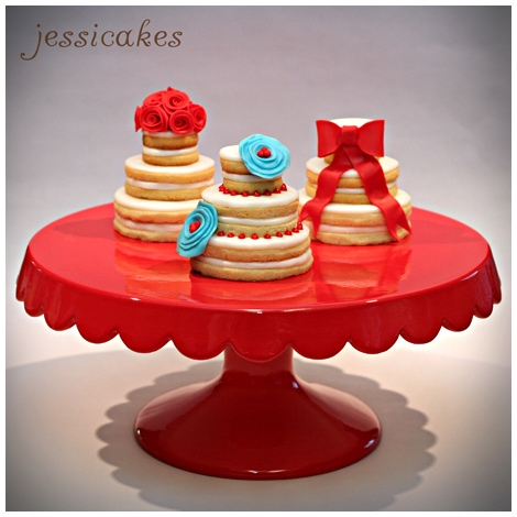 stacked wedding cake cookie favors wedding favors sugar cookie cakes pizzazzerie 20462