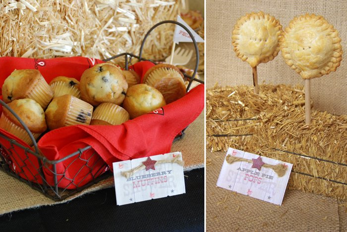 Country Themed Baby Shower Sweets Table Save · Mini Muffins And Pie Pops