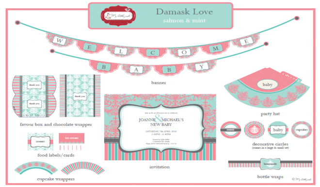 Damask party printables