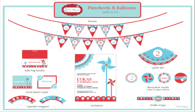 pinwheels and balloons party printables