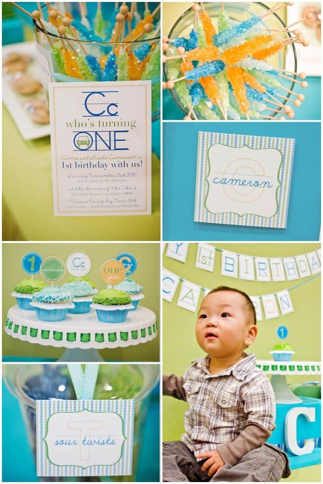 modern green and blue alphabet first birthday for boy