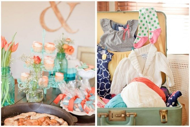 aqua orange baby shower 8