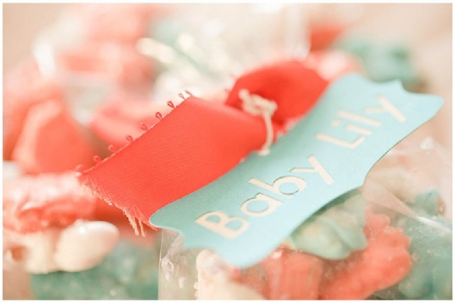 aqua orange baby shower favor