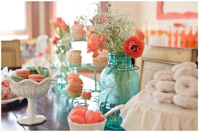 aqua orange baby shower