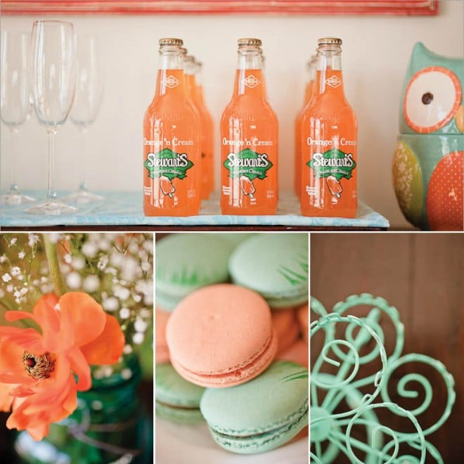 aqua orange baby shower