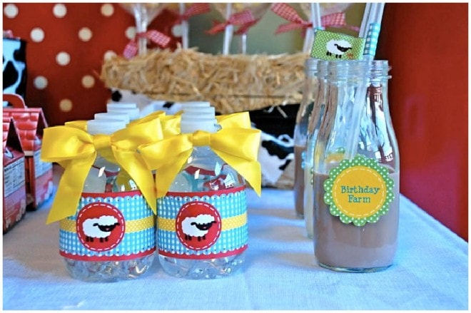 chocolate milk water bottle labels barnyard party
