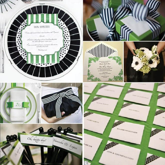 black green white wedding inspiration board