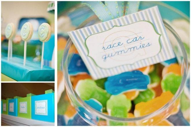 blue green birthday party alphabet