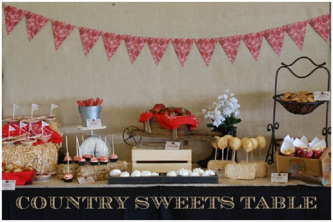 country themed baby shower sweets table