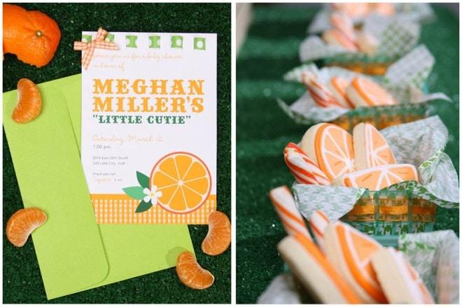 cutie orange baby shower theme