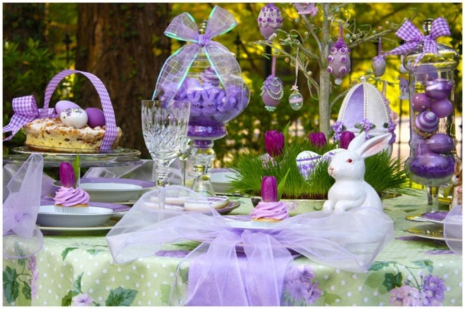 easter decorated tree lavender 2