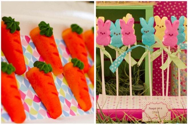 marzipan carrots peeps on sticks