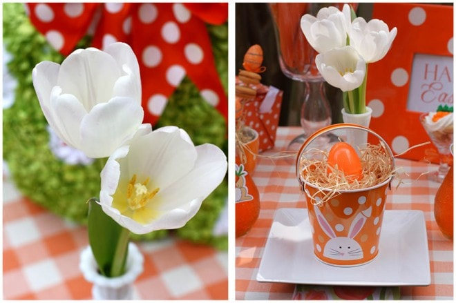 white tulips easter table