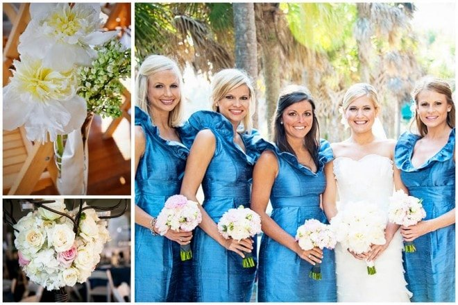 blue pink bridesmaid dresses wedding blog