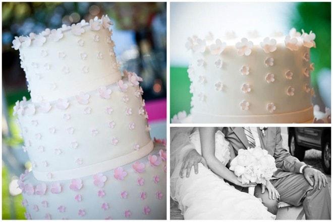 pink white floral wedding cake