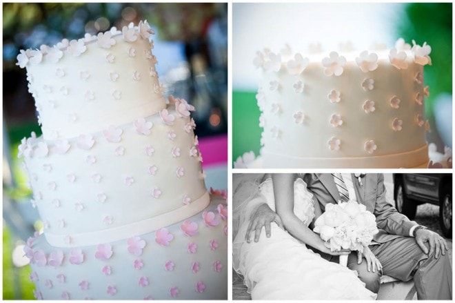 pink white floral wedding cake