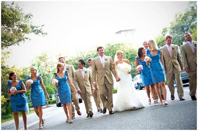 blue bridesmaid dresses pink wedding