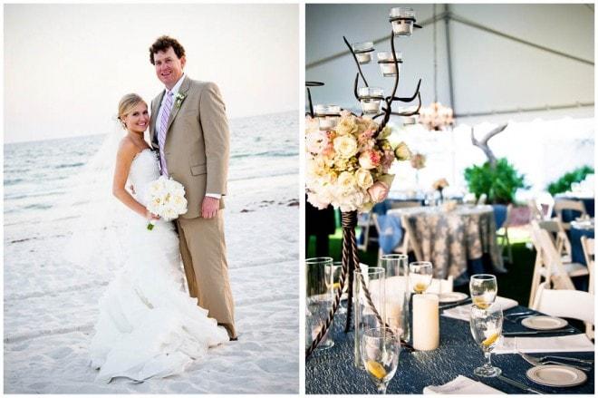 pink white beach wedding