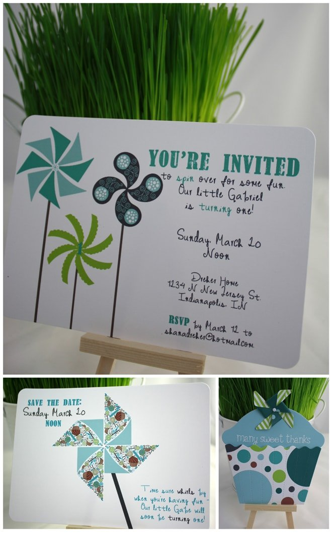 pinwheel birthday party invite