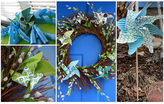 pinwheel birthday party wreath
