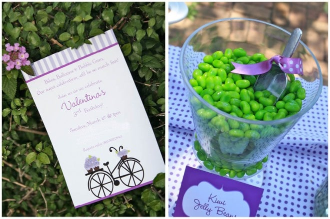 purple bicycle birthday party invitation