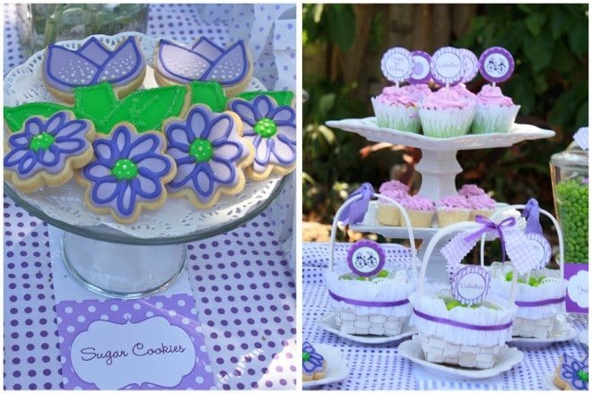 spring sugar cookies purple, green