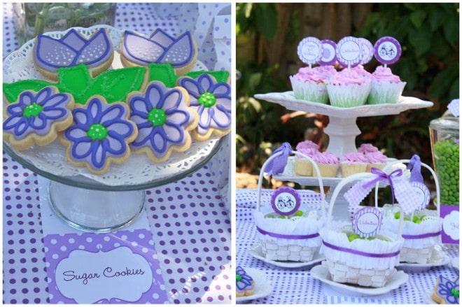 spring sugar cookies purple, green
