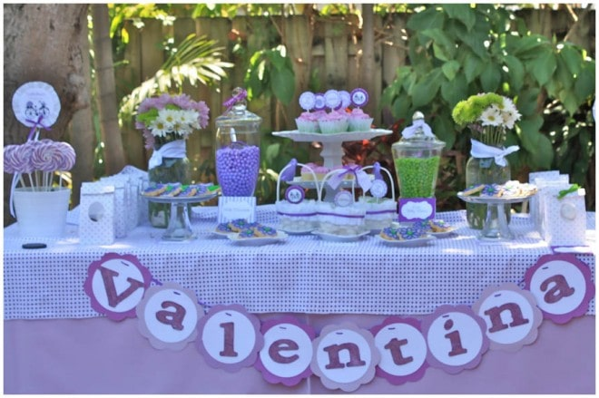 purple green birthday party table