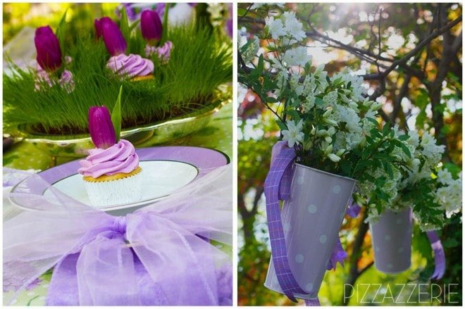 purple lavender tulip cupcake flowers EASTER