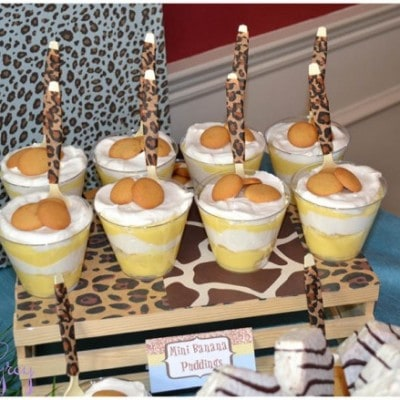 safari birthday party banana pudding