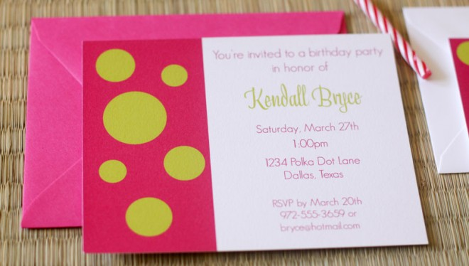 pink green invitation