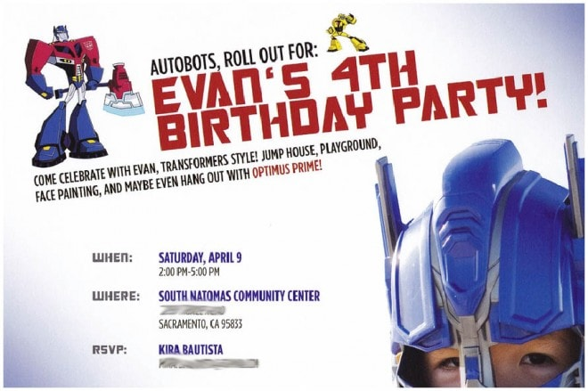 transformers birthday party invite