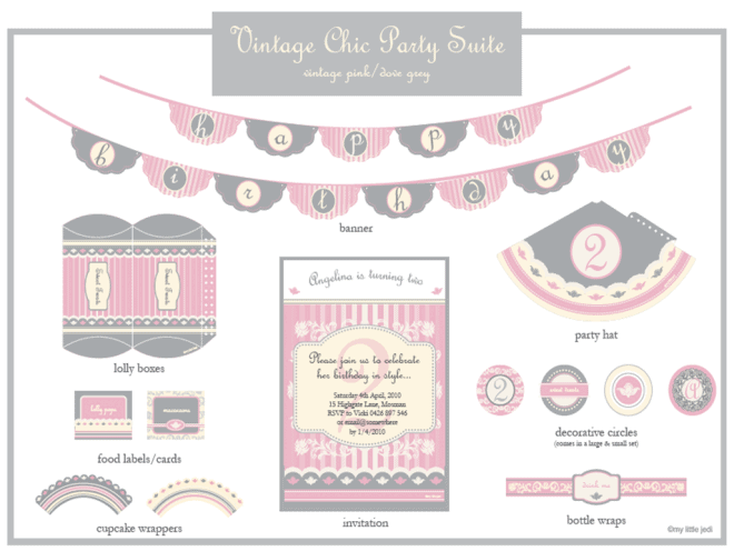 vintage pink and dove grey party printables