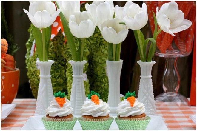 white tulips carrot cupcakes